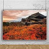 Qinunipoto ビニール 1.5x1m 清水寺 秋の風景 赤いカエデの葉 背景布 背景幕 ポートレート 写真の背景 写真布 スタジオ ブース小道具 背景 画面 装飾布 多機能 子供やペットの写真撮影用 カスタマイズ可能な背景