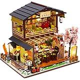 CuteBee DIY木製ドールハウス、吉本寿司、ミニチュアコレクション、オルゴール、プレゼント M2011