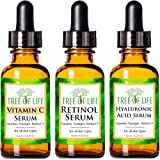 Anti Aging Serum Combo Pack - Vitamin C Serum - Retinol Serum - Hyaluronic Acid Serum - Anti Wrinkle Complete Regimen - Highl