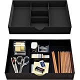 CAXXA 2 Pack 3 Slot Drawer Organizer with Two Adjustable Dividers - Junk Drawer Storage for Office Desk Supplies and Accessor