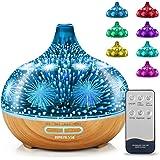 LONENESSL 3D Firework Glass Aroma Diffuser, 400ml Remote Control Ultrasonic Aromatherapy Diffuser, 4 Timer Cool Mist Humidifi