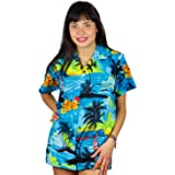 V.H.O Funky Hawaiian Blouse Women Short-Sleeve Front-Pocket Surf Beach Turquoise