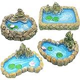 Trasfit 4 Pieces Fairy Garden Miniature Pond Ornaments Accessories for Miniature Garden Accessories, Home Micro Landscape Dec