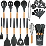Apsung 22PCS Silicone Cooking Kitchen Utensils Set with Holder, Wooden Handles BPA Free Non Toxic Silicone Turner Tongs Spatu