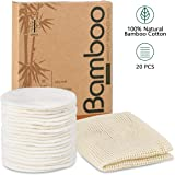 20 Packs Organic Reusable Makeup Remover Pads, Washable Eco-friendly Natural Bamboo Cotton Rounds for all skin types with Cot