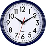 """Bernhard Products - Navy Blue Wall Clock 8"""" Silent Non-Ticking Quality Quartz Battery Operated Small Clock for Boys/Kitchen/C"""