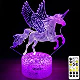 Unicorn Night Light for Kids,Dimmable LED Nightlight Bedside Lamp,Timer,7 Colors Changing,Touch&Remote Control,Best Unicorn T