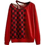 WDIRARA Women's Colorblock Long Sleeve Round Neck Casual Pullover Sweatshirt