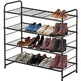 シューズラック4段省スペースシューズラック収納棚靴収納多機能収納ラックフレーム12〜18足の靴を収納できます(ブロンズ)