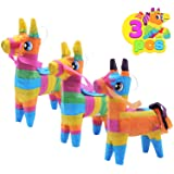 "3 pcs Mini Donkey Pinatas 4""x7"" inches Cinco De Mayo Rainbow Color for Fun Fiesta Taco Party Supplies, Luau Event Photo Props"