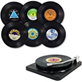 Music Coasters with Vinyl Record Player Holder,6 Pieces of Vinyl Record Coasters Colorful Retro Vinyl Record Disk Coasters, R