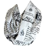 Etwoa's Lewis Carroll Alice in Wonderland Book Quotes White Infinity Scarf