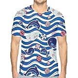 漫画の海の動物 Tシャツ メンズ 半袖 夏 薄手 吸汗速乾 汗染み防止 快適な おもしろ おしゃれ