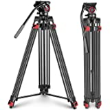 Neewer Professional Heavy Duty Video Tripod 77 inches Aluminum Alloy with 360 Degree Fluid Drag Head, Quick Shoe Plate/Bubble