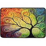 Colorful Rainbow Tree of Life Door Mats Summer Spring Autumn Winter Branch Tree Art Floor Mat Indoor Outdoor Entrance Bathroo