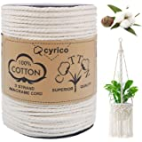 cyrico Macrame Cord, 3 Strand Natural Cotton Soft Unstained Rope for Handmade Plant Hanger Wall Hanging Craft Making - 4mm x