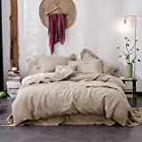 Hibertex Linen Quilt Cover Set,100% Pure French Linen Doona Cover Set,Luxurious Bedding Set 3 Pieces-Natural-Queen Set