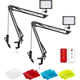 Neewer 2 Packs Upgraded LED Video Light with 433HZ Remote Control Kit: Dimmable 5600K USB 66 LED Light + Desktop Clamp Suspen