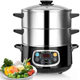 Secura Electric Food Steamer, Vegetable Double Tiered Stackable Baskets with Timer 1200W Fast Heating Stainless Steel Digital