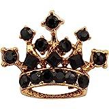 Knighthood Golden Crown with Black Swarovski Detailing Lapel Pin Brooch Shirt Stud for Men