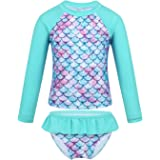 JanJean Little Girls Swimsuit Long Sleeve Two Piece Rash Guard Shirt UPF 50+ Fish Scales Swimwear Sun Protection