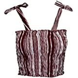 Lofbaz Women's Frill Smocked Crop Tank Top Tie Shoulder Strap Vest