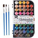 48 Colors Watercolor Paint Set, Shuttle Art Watercolor Pan Set with 3 Paint Brushes Easy to Blend Colors, Non-Toxic Perfect f
