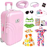 18 Inch Doll Travel Play Set - Doll Accessories with Carry on Suitcase Luggage, 3 Sets of Doll Clothes, Doll Travel Gear Play