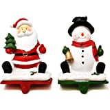 Gift Boutique Christmas Stocking Holder Set of 2 Resin Snowman and Santa Stockings Hanger Mantle or Fireplace Decor