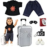 Barwa Items = Causl Boy Doll Clothes Shoes Silver Travel Set Suitcase Camera with Play Card for 18 Inch American Girl Boy Dol