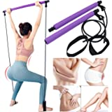 Creative Fitness Pilates Stick Bar with Foot Strap, Non Slip Exercise Resistance Bands, Portable and Multifunctional, for Mus