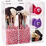 Newslly Clear Acrylic Covered Makeup Brush Holder with Dustproof Lid, 3 Drawers, Pearls Beads for Cosmetics Brushes Storage (