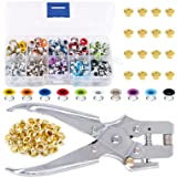 Swpeet 300Pcs 10 Colors 3/16 inch Metal Grommets Kit and 1Pcs Eyelet Hole Punch Pliers with 100Pcs Gold Grommets, Metal Eyele