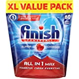 Finish All In One Max Super Charged PowerBall Dishwasher Tablets, XL Value Pack, 80 ct