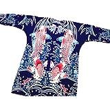 【鯉の滝昇り・紺紫】東京いろはオリジナルの鯉口シャツ 男女兼用
