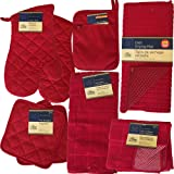 This (Red) Kitchen Starter Set Has Oven Mitts, Pot Holders, Kitchen Towels, Micro-Scrubber Dish Cloths, A Drying Mat, a Refri