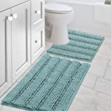 Original Striped Luxury Shaggy Bath Mat, Super Absorbent Water, Non-Slip, Machine-Washable, Soft and Cozy, Thick Modern for B