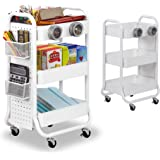 DESIGNA 3-Tier Rolling Cart, Utility Cart with Handle, Extra 3 Storage Accessories, Removable Pegboard, Easy Assembly Craft C