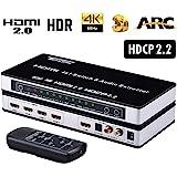 Tendak HDMIデジタルオーディオ分離器 セレクター 音声分離 ARC付き 切替器 コンバーター 4K@30Hz 3D Optical PS3/PS4/XBOX/Blue-ray/DVD/HD Player/Apple TV対応