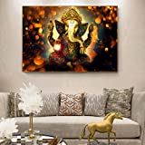 Wangjingxi Lord Ganesha Canvas Paintings On The Wall Classical Hindu Gods Posters and Prints Hinduism Decorative Pictures for