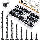 Rustark 160-Pcs #7 Coarse Thread Drywall Screw with Phillips Drive Black Oxide Finsh Bugle Head Wood Screws Assortment Kit Id