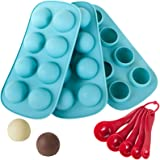 Webake Silicone Chocolate Candy Molds, Round Sphere Baking Molds for Cordial Truffle, Jello Pudding Ball Ice Cube Peanut Butt