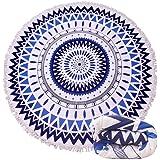 【Blue Giraffe】15柄 ラウンドビーチタオル 大判ビーチタオル 厚手 バスタオル 超吸水 ビーチマット おしゃれ タッセル付き インテリア 多用途 … (7)