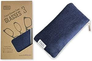 Planet company GLASSES×3 ブルー メガネケース コンパクト スリム 複数収納 持ち運び メガネ サングラス ソフトケース 旅行