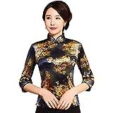 Shanghai Story Chinese Cheongsam Shirt 3/4 Sleeve Velvet Chinese Blouse for Women