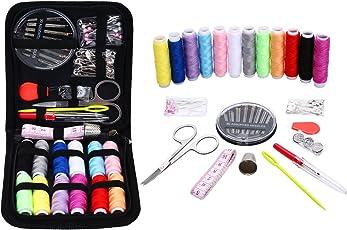 裁縫セット Jktown携帯式74個ミニ ソーイングセット ポータブル 高品質なミシンアクセサリー,プロ裁縫道具,多色縫い糸 家庭用 大人用 子供用 旅行用 Office用 持ち運び