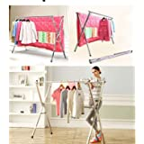 PFJJ Extendable x Rack - Clothes Laundry Drying Rack Strong Stainless Steel Poles (Color : 2.4m with wheels)