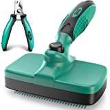 Ruff 'N Ruffus Pet Grooming Kit for Cats and Dogs, 3-Piece Set with Self-Cleaning Slicker Brush, Steel Finishing Comb, and Pe