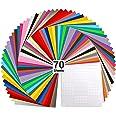 "Vinyl Sheets, Ohuhu Permanent Adhesive Backed Vinyl Sheets Set, Vinyl Sheets 12"" x 12"" + Transfer Tape Sheets for Cricut, Sil"