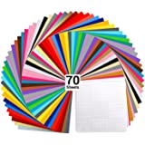 "Vinyl Sheets, Ohuhu 70 Permanent Adhesive Backed Vinyl Sheets Set, 60 Vinyl Sheets 12"" x 12"" + 10 Transfer Tape Sheets, 30 Co"